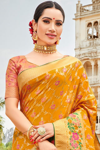 Peach and Mustard Banarasi Jacquard Silk Saree