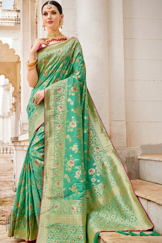 Magenta and Sea Green Banarasi Jacquard Silk Saree