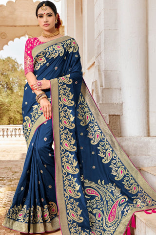 Magenta and Ink Blue Banarasi Jacquard Silk Saree