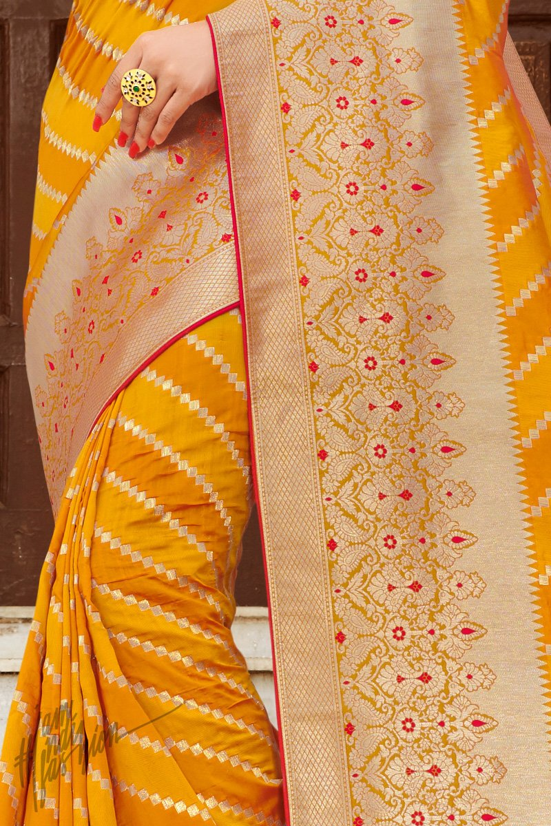 Red and Haldi Yellow Banarasi Jacquard Silk Saree