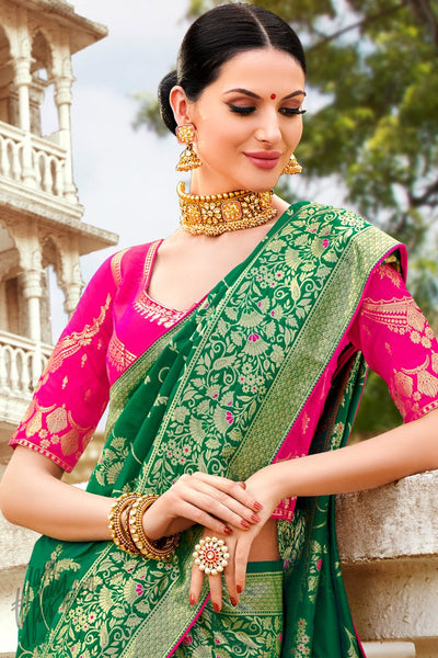Rani and Green Banarasi Jacquard Silk Saree