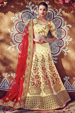 Indi Fashion Cream and Red Raw Silk Wedding Lehenga Set