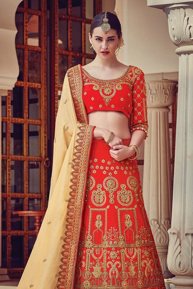 Indi Fashion Red and Beige Raw Silk Wedding Lehenga Set