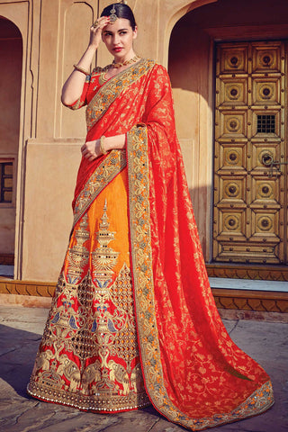 Indi Fashion Orange and Red Raw Silk Wedding Lehenga Set
