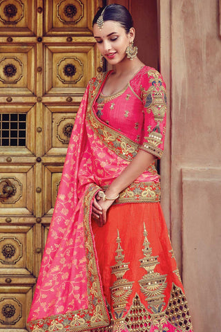 Indi Fashion Orange and Pink Raw Silk Wedding Lehenga Set