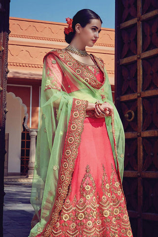 Indi Fashion Peach and Green Raw Silk Wedding Lehenga Set