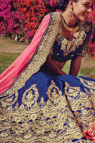 Indi Fashion Blue and Pink Raw Silk Wedding Lehenga Set