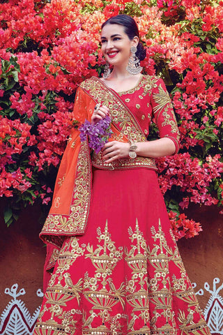 Indi Fashion Red and Orange Raw Silk Wedding Lehenga Set