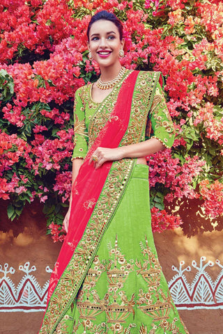 Indi Fashion Green and Red Raw Silk Wedding Lehenga Set