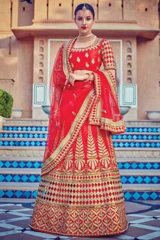 Indi Fashion Red Raw Silk Wedding Lehenga Set