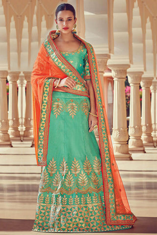 Indi Fashion Sea Green and Peach Raw Silk Wedding Lehenga Set