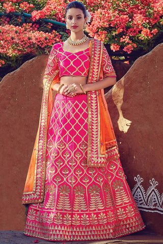 Indi Fashion Pink and Orange Raw Silk Wedding Lehenga Set