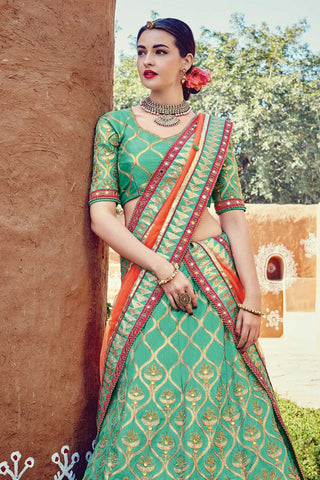 Indi Fashion Sea Green and Orange Raw Silk Wedding Lehenga Set