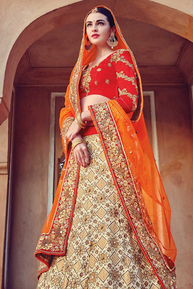 Indi Fashion Cream Red and Orange Raw Silk Wedding Lehenga Set