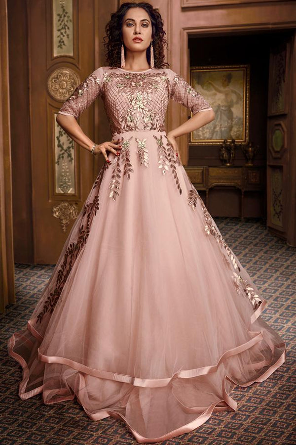 Baby Pink Net and Satin Silk Layered Gown