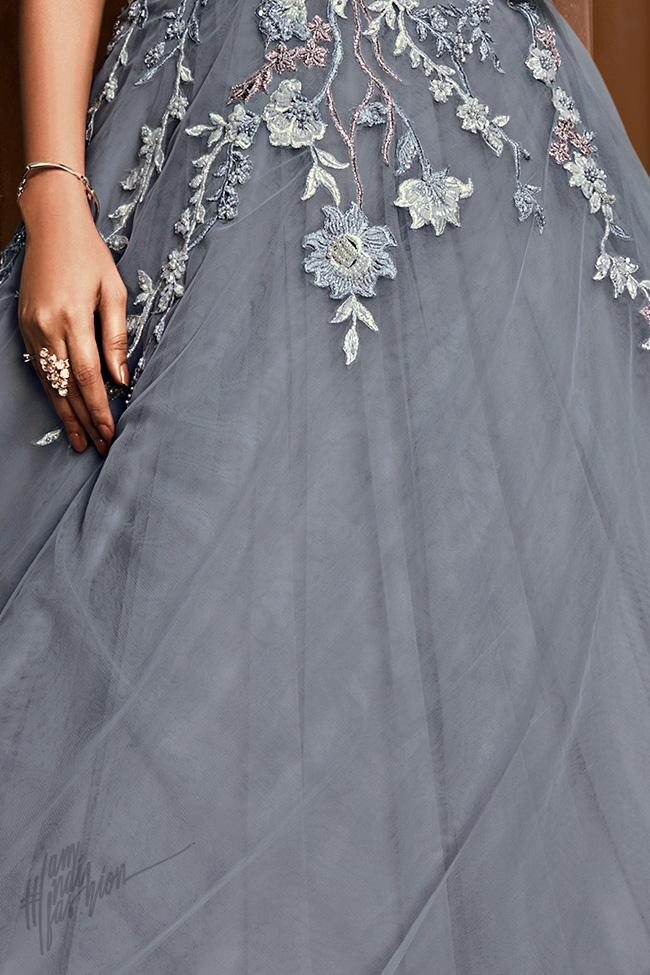 Gray Net and Satin Silk Off Shoulder Layered Gown