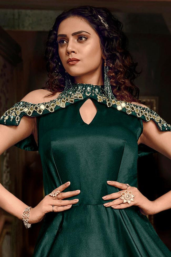 Dark Green Satin Silk Cold Shoulder Gown