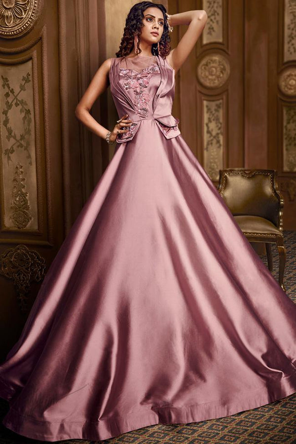Metallic Rose Gold Satin Silk Gown