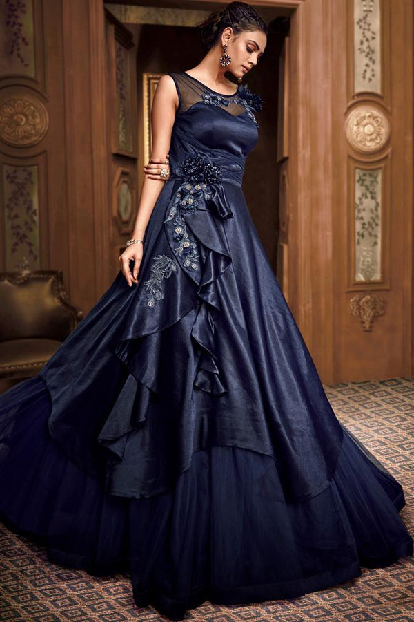 Midnight Blue Satin Silk and Net Asymmetrical Layered Gown