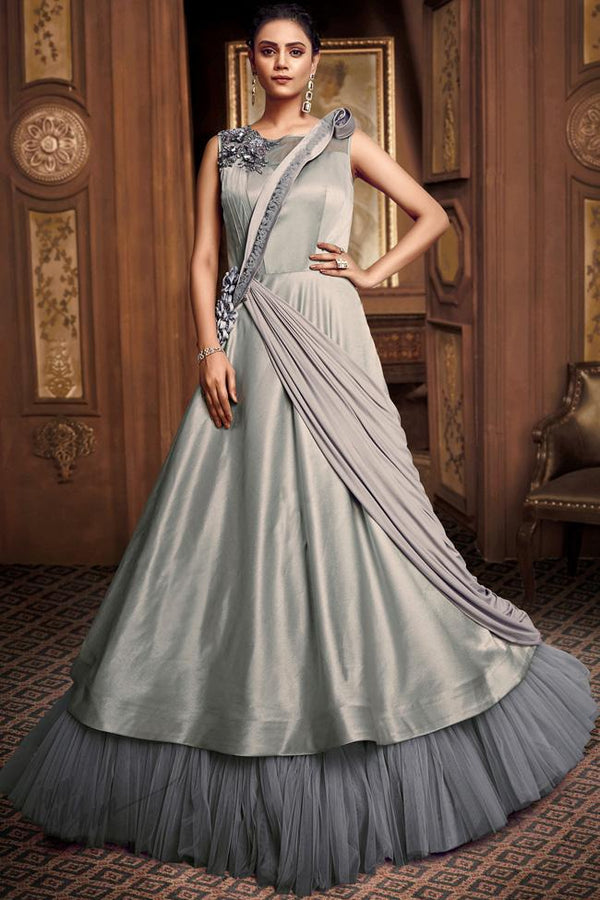 Greenish Gray Satin Silk and Net Layered Gown