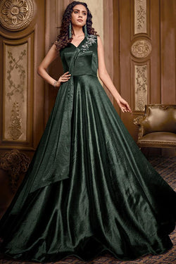 Bottle Green Satin Silk Gown