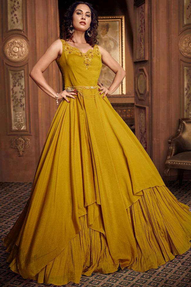 Mustard Satin Silk Asymmetrical Layered Gown