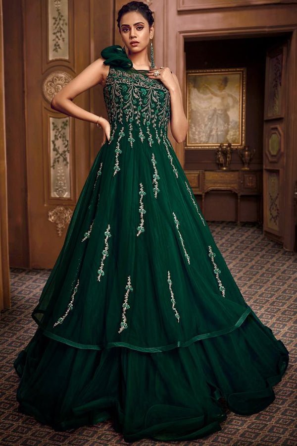 Green Net and Satin Silk Layered Gown