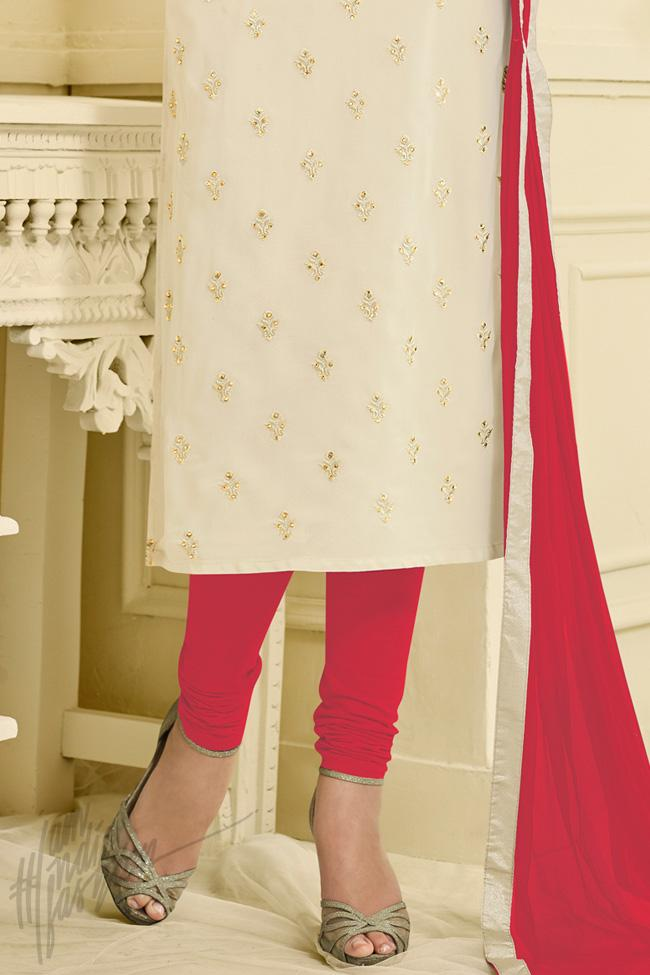 Indi Fashion White and Red Georgette Straight Suit