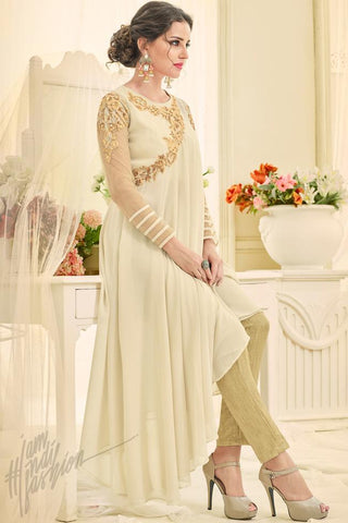 Indi Fashion Cream and Beige Georgette Asymmetrical Suit