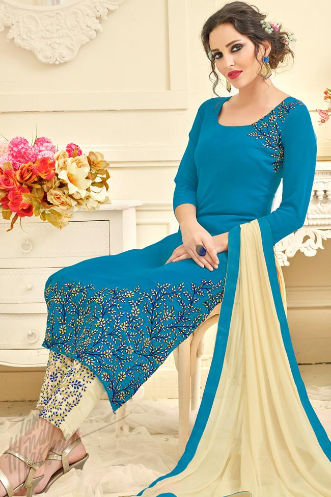 Indi Fashion Royal Blue and Cream Georgette Straight Suit