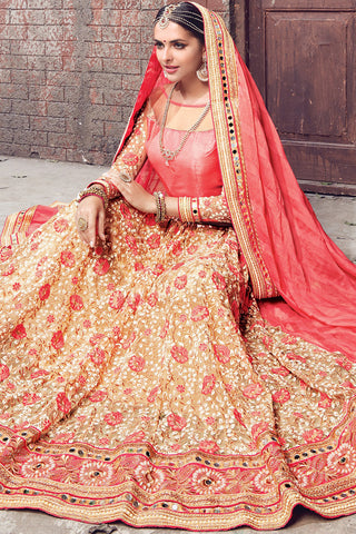 Indi Fashion Pink and Beige Chiffon and Net Lehenga Saree