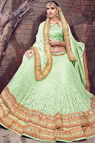 Indi Fashion Light Green and Gold Chiffon and Net Lehenga Saree