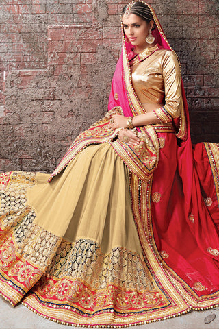 Indi Fashion Beige Pink and Red Half and Half Satin Chiffon and Lycra Lehenga Saree