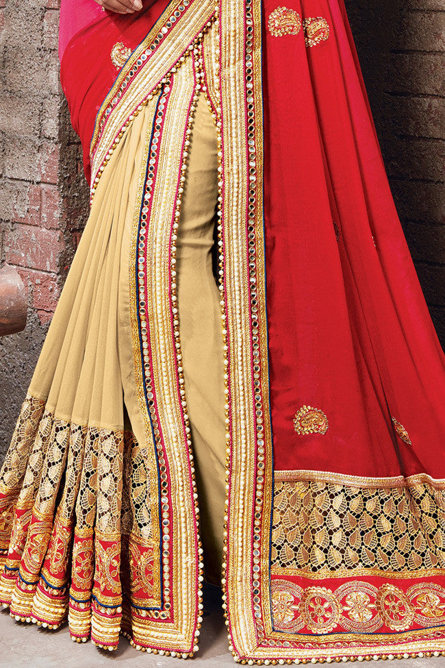 Buy Beige Pink and Red Half and Half Satin Chiffon and Lycra Lehenga Saree Online at indi.fashion