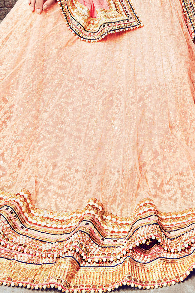Buy Light Orange and Peach Satin Chiffon and Net Lehenga Saree Online at indi.fashion