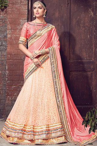 Indi Fashion Light Orange and Peach Satin Chiffon and Net Lehenga Saree