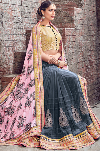Indi Fashion Gray Soft Pink and Gold Satin Chiffon and Net Half and Half Lehenga Saree