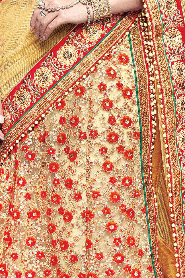 Indi Fashion Red and Beige Lycra and Net Lehenga Saree
