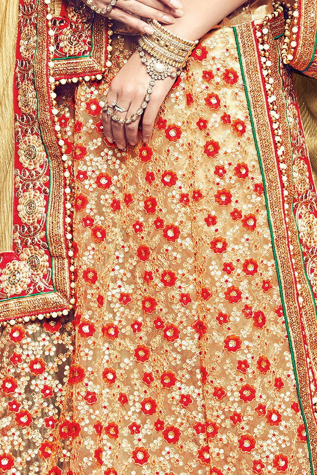 Buy Red and Beige Lycra and Net Lehenga Saree Online at indi.fashion
