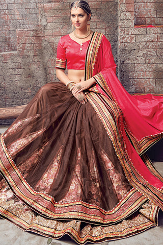 Indi Fashion Pink and Brown Satin Chiffon and Net Half and Half Lehenga Saree