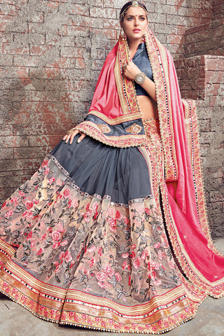 Indi Fashion Gray Pink and Gold Satin Chiffon and Net Half and Half Lehenga Saree