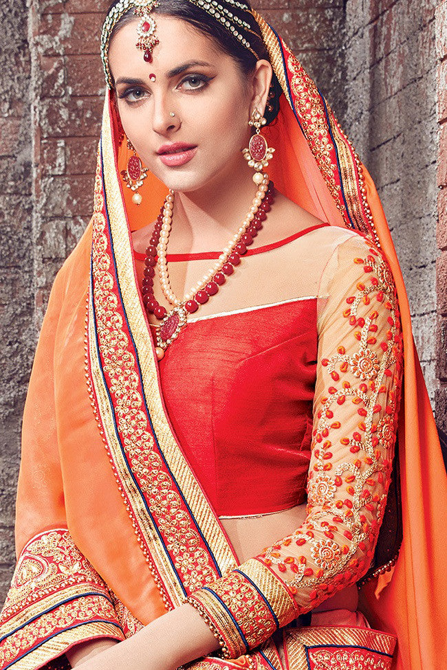 Buy Beige Orange and Red Satin Chiffon and Net Lehenga Saree Online at indi.fashion