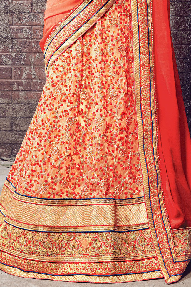 Indi Fashion Beige Orange and Red Satin Chiffon and Net Lehenga Saree