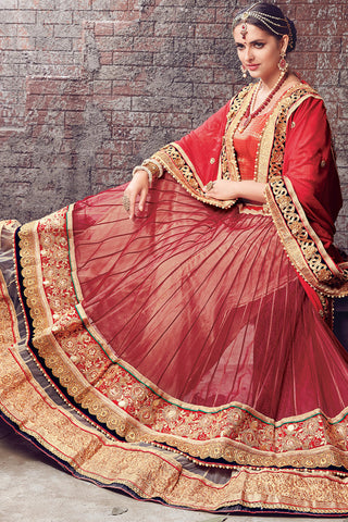 Indi Fashion Red and Gold Chiffon and Net Lehenga Saree