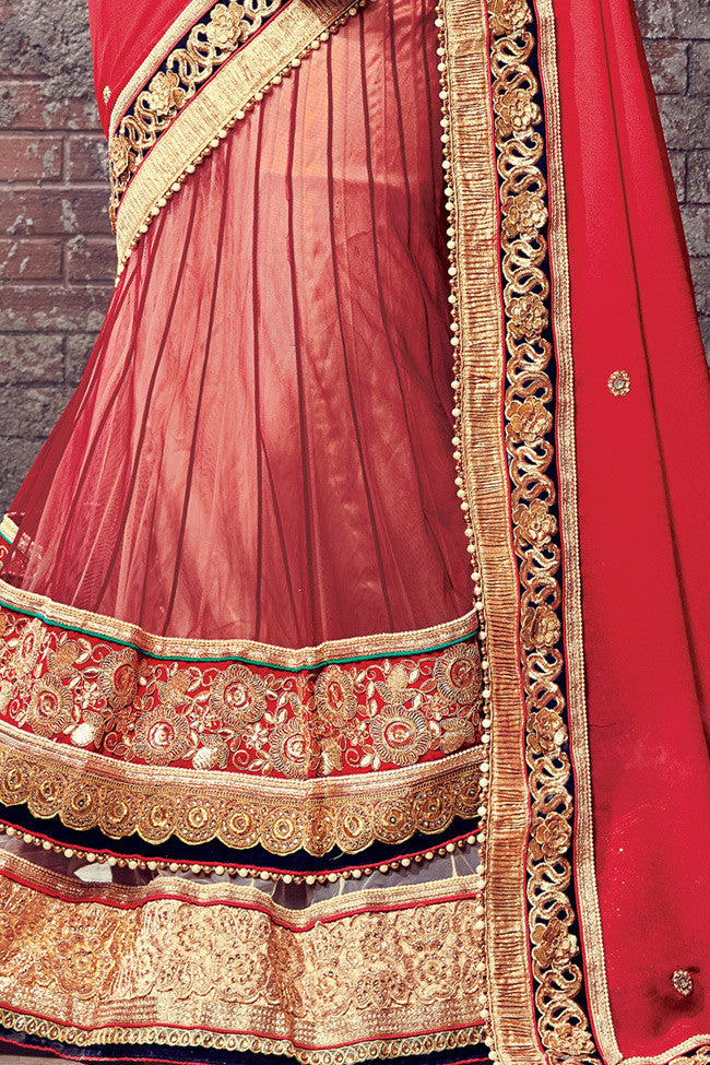 Buy Red and Gold Chiffon and Net Lehenga Saree Online at indi.fashion