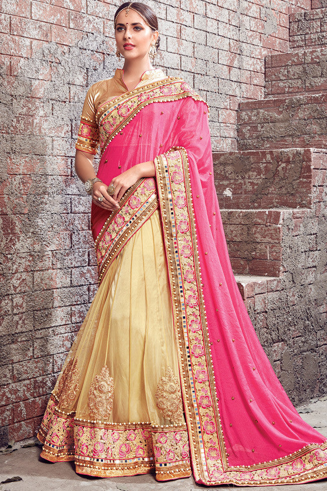 Buy Beige Pink and Gold Satin Chiffon and Net Lehenga Saree Online at indi.fashion