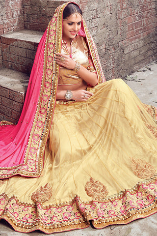 Indi Fashion Beige Pink and Gold Satin Chiffon and Net Lehenga Saree