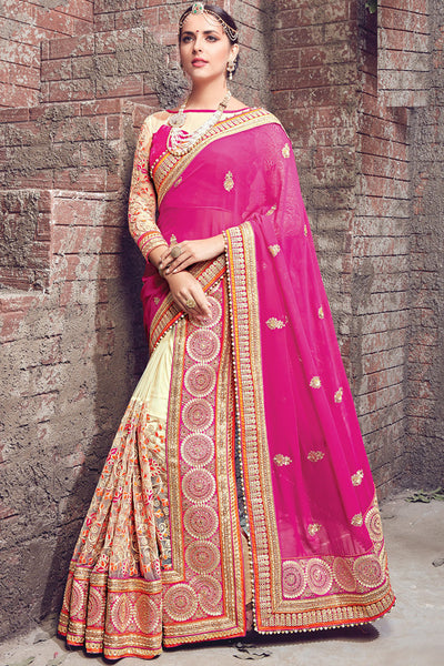 Buy Pink and Beige Georgette and Net Half and Half Lehenga Saree Online at indi.fashion