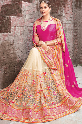 Indi Fashion Pink and Beige Georgette and Net Half and Half Lehenga Saree