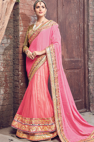 Indi Fashion Pink and Gold Satin Chiffon and Net Lehenga Saree